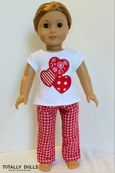 DIY - How to Make: Doll UGG Boots - Winter - Holiday - Craft - 18 Inch American Girl Doll Clothing, Valentine's Day, Loving Hearts PJs Pajama Appliqued Tee and Pants Set to fit Girl Dolls by Totally Dolls Sewing Doll Clothes, Baby Doll Clothes, Clothes Crafts, Doll Clothes Patterns, Barbie Clothes, Doll Patterns, American Girl Crafts, American Doll Clothes, American Girls