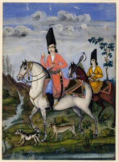 A Qajar prince and attendants hawking on horses. Qajar school, Iran, ca 1840-50.