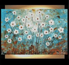 ORIGINAL white abstract flowers palette knife impasto painting from jolina anthony perfect wall decor for your home. $289.00, via Etsy. Palette Knife, Abstract Flowers, Wall Decor, The Originals, Abstract Paintings, Etsy, Taupe, Aqua, Beauty