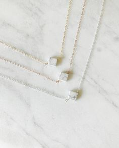 The Sophie Necklace White Marble Necklace Marble Jewelry