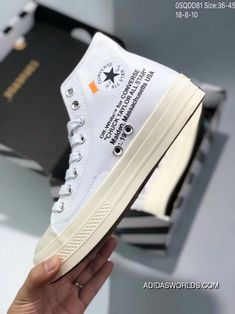 3536bae3d2255 80 OFF-WHITE X Converse2.0 Ow Collaboration Converse High Split Black White  Canvas Shoes 0SQDD81 Size 18-8-10 New Release