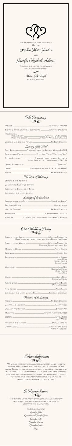 Linked Hearts Wedding Programs