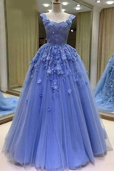 Blue tulle lace prom dress, modest prom dress, ball gowns wedding dress