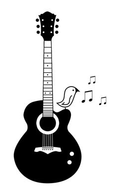 "Guitar Tattoo .. Want to do a guitar with the quote ""When he sings, even the birds stop to listen..."" with music notes incorporated. My daddy always played guitar and sang when I lived at home. That was my favorite thing to hear in the mornings..."