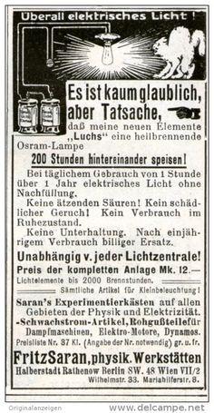 Original-Werbung/Inserat/ Anzeige 1910 - AKKUS FÜR ELEKTRISCHES LICHT/SARAN PHYSIK.WERKSTÄTTEN ca. 100 x 45 mm