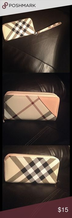 ❤️CUTE WALLET Double sided non-leather British plaid wallet WRISTLET in ivory color, with pink, burgundy, and brown stripes.  One side has zipper coin holder, phone storage and other miscellaneous items.  Other side has eight credit card slots, check book space, and room for your cash.  WRISTLET strap is removable.  Price speaks for products quality.  All zippers tested and work properly. Soo nice in person! Smoke free home. Bags Clutches & Wristlets