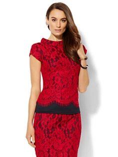 NY and Co 7 avenue design studio Red Black Mandarin Collar Top size XL Laces #NewYorkCompany #Blouse #EveningOccasion
