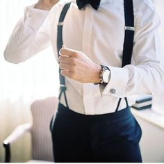 Black bow tie suspenders