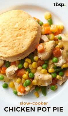 Easy and comforting chicken pot pie that is cooked in a slow cooker. Try the easiest chicken pot pie recipe yet -- toss stuff in and let your slow cooker do its thing, then top with fresh-from-the-oven biscuits. Yum!