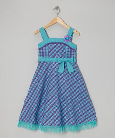 Take a look at this Teal & Purple Gingham Dress - Girls by Youngland on #zulily today!