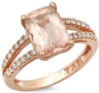 #Jewelry #Rings 2.27ctw Morganite and Diamond 14K Rose Gold Ring