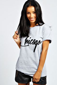 Florence Chicago Oversized Roll Back Slogan Tee at boohoo.com