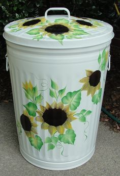 Painted Metal Garbage Cans Decorative | Metal Galvanized Trash Cans