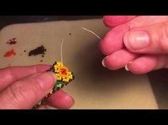 This shows two alternate ways of doing the edging and starting a new thread in the middle of the piece. Seed Bead Jewelry Tutorials, Beaded Jewelry Patterns, Earring Tutorial, Bracelet Tutorial, Beading Projects, Beading Tutorials, Peyote Stitch Tutorial, Beading Patterns Free, Bead Store