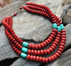 c o w g i r l  f l a i r 1: Chunky sponge coral and turquoise nuggets