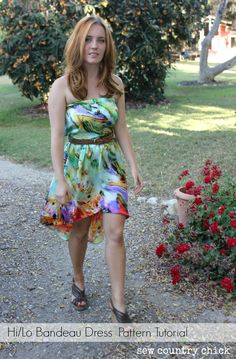 Sew Country Chick: fashion sewing and DIY: Hi / Lo Strapless Dress Pattern Making Tutorial.