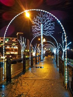 Christmas-lit river walkway in Gatlinburg, TN, taken with my Samsung Infuse 4G camera.