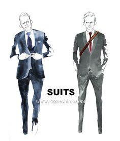 "Harvey Specter and Mike Ross in ""Suits""!   Gabriel Macht / Patrick J Adams #mensfashion #fashionillustration #menswear #mensstyle ""suits #illustration #menssuits #Harvey Specter #Mike Ross"