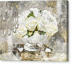 Canvas Print featuring the painting Shabby White Roses With Gold Glitter by Mindy Sommers