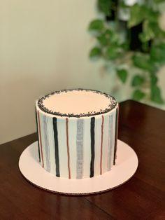 #strippedcake } Buttercream Cake, Birthday Cake, Cakes, Simple, Desserts, Food, Buttercream Ruffles, Tailgate Desserts, Deserts