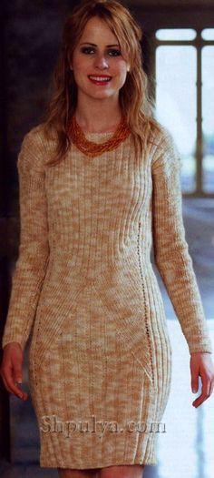 Платье с полоску из меланжевоцй пряжи, вязаное спицами