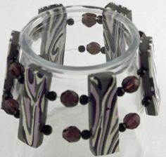 Purple polymer clay bracelet
