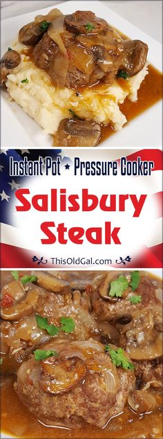 Juicy Meat Patties in a Rich Onion Gravy, covered with Mushrooms, Pressure Cooker Salisbury Steak is a simple meal, made with pantry staples. Pressure Cooking Recipes, Slow Cooker Recipes, Beef Recipes, Yummy Recipes, Hamburger Recipes, Crockpot Meals, Salad Recipes, Power Pressure Cooker, Instant Pot Pressure Cooker
