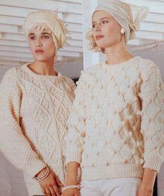 1e59df98f2cc88 Knitting Pattern Ladies Women s Aran Sweater Jumper Pullover size 34-40in  86-102cm