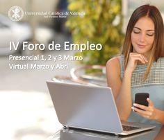 """Del 1 al 3 de marzo tendrá lugar el """"IV Foro de Empleo de la Universidad Católica de #Valencia"""" para poner en contacto a las principales empresas con nuestros alumnos y egresados. ¡No te lo puedes perder! #ForoEmpleoUCV #EmpleabilidadUCV #FuturoUCV"""