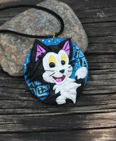 Figaro cat pendant - cat necklace - cat jewelry - cat lover gift - blue black kitty - Pinocchio Disney Cat - polymer clay - black cat jewelry