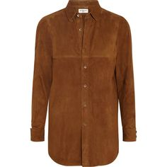 Saint Laurent Suede shirt ($3,045) ❤ liked on Polyvore featuring tops, saint laurent, blouses, brown, shirts, suede top, yves saint laurent shirt, slim shirt, brown shirt and brown tops
