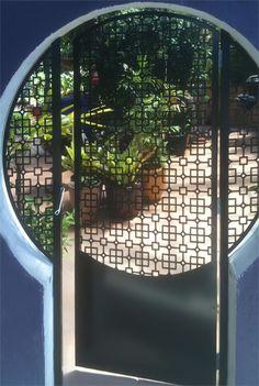 Custom designed powder coated Mild Steel laser cut garden entry gate in Cutout design code: N1130