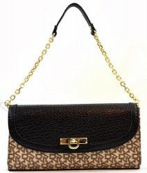 DKNY T:C W/ French Grain Leather Jacquard Convertible Clutch Shoulder Bag Purse Chino Black