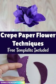 free template and tutorial for different crepe paper flower techniques How To Make Paper Flowers, Crepe Paper Flowers, Paper Flower Tutorial, Flower Template, Card Making Techniques, Flower Crafts, Card Stock, Cricut, Templates