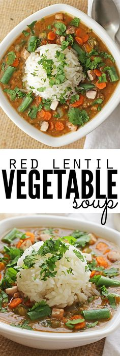 Red Lentil Vegetable Soup - this soup is SO GOOD. My husband who hates beans didn't even notice them in this soup & my picky kid had a second helping! It's now my favorite go-to soup since you can use almost any vegetables you have on hand, and since the lentils cook down into a delicious puree, no one will even notice they're there! Plus the whole batch costs less than $6 - talk about an easy recipe that's budget-friendly too! :: DontWastetheCrumbs.com