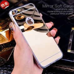 Luxury Mirror Case For iPhone 6 6s / Plus / 5 5s Handmade Rhinestone Crystal Soft TPU Frame Cover for Iphone6 s Plus phone cases