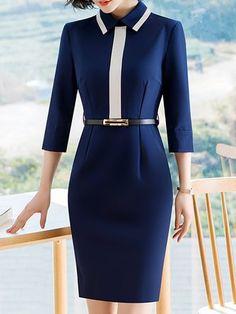 Work Dresses - Shop Affordable Designer Work Dresses for Women online Modest Dresses, Nice Dresses, Casual Dresses, Dress Outfits, Dresses With Sleeves, Fashion Outfits, Sheath Dresses, Half Sleeves, Dress Fashion