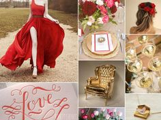 """Sara Burnett from Burnett's Boards creates the most beautiful inspiration boards for Brides. Here's the 4th Valentine's Wedding board. Happy Valentine's Day!  Sara says """"Happy Valentine's Day! I love this day but it's also sad because this is the final inspiration board in our Valentine's Wedding series – but what a glamorous one it is! Red and gold are lovely colours for a wedding, especially a Valentine's wedding. While you may look at the Lanvin dress in this inspiration board and think…"""