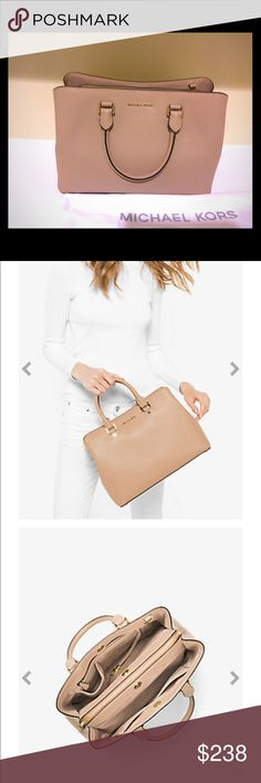 Michael Kors Handbag Savannah Saffiano Large Leather Satchel-current style. Used it only for 1 week. Mint condition: practically a brand new bag at a 20% discount and no tax=total savings of close to $88 MICHAEL Michael Kors Bags Satchels