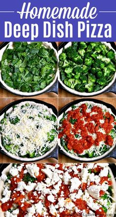 Learn how to make Deep Dish Pizza at home! This Homemade Deep Dish Pizza Recipe with Broccoli, Spinach, and Feta is so easy to make in a Cast Iron Pan / Skillet ... the perfect family meal! This authentic Chicago Style Vegetarian Deep Dish Pizza is a Spinaccoli Pizza Copycat Recipe, inspired by a beloved Uno Pizzeria Recipe! This Thick Crust Pizza is loaded with veggies and so delicious!   Hello Little Home #deepdishpizza #pizza #pizzarecipe #vegetarianpizza #vegetarianrecipes #veggiepizza Veggie Recipes Breakfast, Veggie Recipes Healthy, Broccoli Recipes, Vegan Recipes Easy, Pizza Recipes, Dinner Recipes, Delicious Recipes, Vegetarian Pizza Recipe, Deep Dish Pizza Recipe