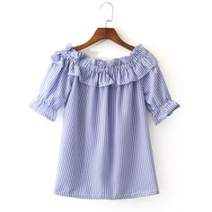 Blue White Stripe Short Sleeve Ruffle Boat Neck Blouse (1,080 PHP) ❤ liked on Polyvore featuring tops, blouses, short sleeve blouse, print blouse, short-sleeve blouse, cotton blouses and collar blouse