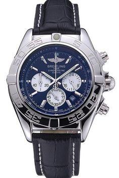 Men's Breitling Chronomat 44 Black Dial with White Subdials Black Leather Bracelet Replica Watch