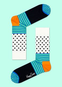 Supplement any ordinary outfit with a pair of extraordinary socks! This pair of socks features a distinctive design of stripes and dots alongside patches of solid color. Against a white backdrop, black polka dots fill the space; alongside light green, blue stripes lead the way. Solid areas of orange and black add to the vivid coloring of these snug, combed cotton socks. Available for women and men.