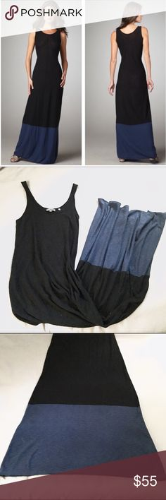 [Sale!] Vince Color Block Tank Maxi Dress Maxi dress by Vince. Black with blue color block, tank style top. 100% cotton, soft, comfortable style. Size medium. Very gently worn, only a handful of times. Some minor pilling, not at all noticeable. There was a very small hole at the back hem, behind the righthand seam (4th picture). It's been stitched closed professionally & is hard to see, can't be noticed during wear. Stock image shows a narrowed waist, but this dress hangs straight down and I…