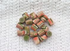 Polymer Clay Tube Beads Olive Green Coral Peach by GilliansLocker, $8.50