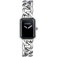 CHANEL PREMIÈRE Steel Chain Watch (30,080 CNY) ❤ liked on Polyvore featuring jewelry, watches, accessories, jewelries, bracelets, water resistant watches, cabochon jewelry, steel watches, chanel jewelry and chains jewelry