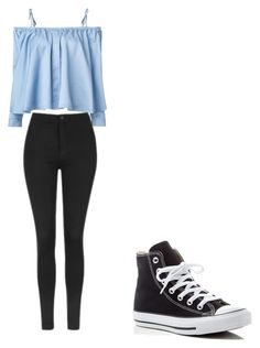 """Untitled #309"" by may5lin on Polyvore featuring Sandy Liang, Topshop and Converse"