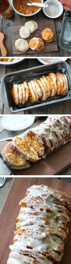 Pumpkin Bread Pull Apart Recipe | Easy Fall Dessert For Holidays | Biscuits, Cinnamon, Icing, Pumpkin, Sugar | Thanksgiving and Christmas Treat