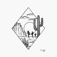 A small desert scenery Have a nice weekend . Mini Drawings, Easy Pencil Drawings, Cool Art Drawings, Art Drawings Sketches, Ink Illustrations, Cute Small Drawings, Tattoo Drawings, Graphic Illustration, Desert Drawing