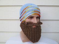 Knitted long beard hat Beard Beanie viking hat viking hats Bearded Hat Knitted Beard Hat Ski hat knitted viking hat and beard halloween mask